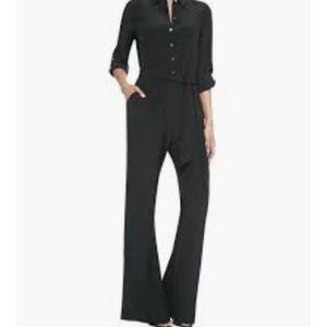 Dvf black silk wide leg LORI jumpsuit